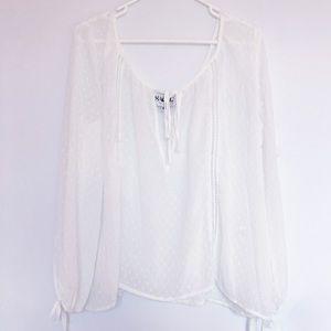 Sheer White Sabo Skirt Blouse